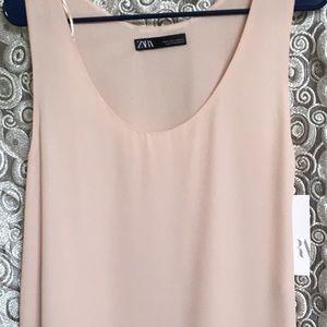 Zara Chiffon Tunic- light blush so classy sz M.